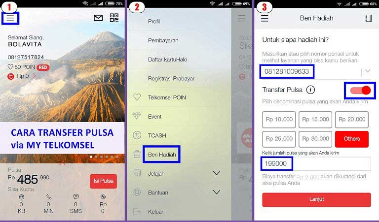 transfer pulsa my telkomsel 1